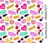 seamless pattern fashion... | Shutterstock .eps vector #486827077