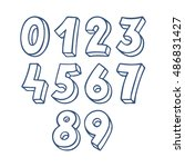 set of blue sketch numbers.... | Shutterstock .eps vector #486831427