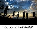 silhouette of young people at... | Shutterstock . vector #486840283