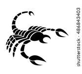 black scorpio isolated on white | Shutterstock . vector #486843403