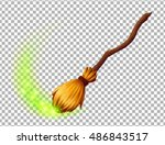 vector magic witch broom on... | Shutterstock .eps vector #486843517