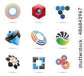 various colorful abstract icons ... | Shutterstock . vector #486843967