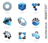 various blue abstract icons... | Shutterstock . vector #486847207