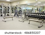 interior of a fitness hall with ... | Shutterstock . vector #486850207
