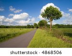 Road through rural landscape - stock photo