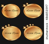gold colored banner with stars. ...   Shutterstock .eps vector #486853597