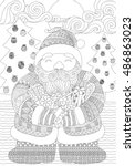 Zendoodle Design Of Santa...