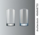 transparent empty glass cup ... | Shutterstock .eps vector #486868753