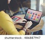 e learning online education... | Shutterstock . vector #486887947
