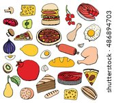 colorful vector hand drawn food ... | Shutterstock .eps vector #486894703