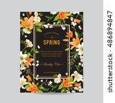 vintage floral colorful frame   ... | Shutterstock .eps vector #486894847