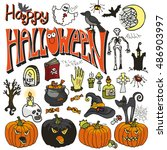 halloween party icons.doodle... | Shutterstock . vector #486903997