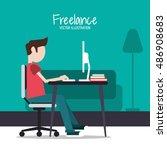 man and freelance design | Shutterstock .eps vector #486908683