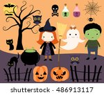 halloween kids  black cats  a... | Shutterstock .eps vector #486913117