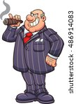 rich and fat businessman with a ... | Shutterstock .eps vector #486914083