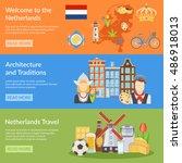 horizontal colorful netherlands ... | Shutterstock .eps vector #486918013