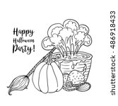 coloring book page design with... | Shutterstock . vector #486918433