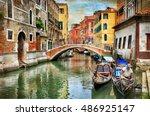 romantic venetian canals  ... | Shutterstock . vector #486925147