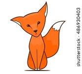 cartoon fox isolated on white... | Shutterstock .eps vector #486930403