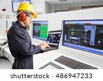 electrical engineer working at... | Shutterstock . vector #486947233