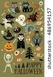 happy halloween. vector set of... | Shutterstock .eps vector #486954157