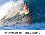 picture of surfing a wave... | Shutterstock . vector #486960847