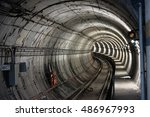 underground train tunnel | Shutterstock . vector #486967993