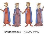 medieval manuscript king and... | Shutterstock .eps vector #486974947