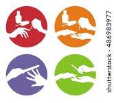 nail polishing  set of manicure ... | Shutterstock .eps vector #486983977