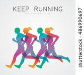 run  running poster | Shutterstock .eps vector #486990697