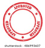 approved grunge stamp  vector... | Shutterstock .eps vector #486993607