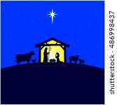 nativity manger | Shutterstock .eps vector #486998437