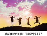 silhouette of group of hipster... | Shutterstock . vector #486998587