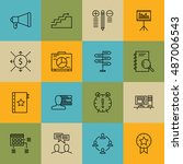 set of project management icons ... | Shutterstock .eps vector #487006543