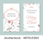 wedding set. romantic vector... | Shutterstock .eps vector #487015303