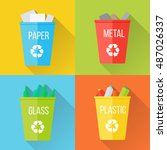 color recycle garbage bins with ... | Shutterstock .eps vector #487026337