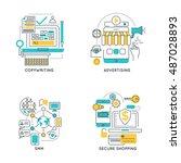 digital marketing linear... | Shutterstock .eps vector #487028893