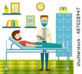 doctor and patient flat design... | Shutterstock .eps vector #487028947