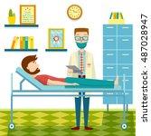 doctor and patient flat design... | Shutterstock .eps vector #487028947
