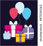 happy birthday celebration....   Shutterstock .eps vector #487034263