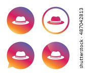 top hat sign icon. classic... | Shutterstock .eps vector #487042813