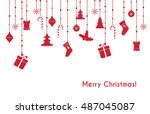 christmas vector red greeting... | Shutterstock .eps vector #487045087