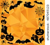 halloween background. vector... | Shutterstock .eps vector #487045123