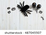 halloween background on white...   Shutterstock . vector #487045507
