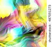 art abstract fractal wave... | Shutterstock . vector #487051273