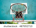 basketball hoop in the park ...   Shutterstock . vector #487052713