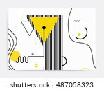 colorful trend neo memphis... | Shutterstock .eps vector #487058323
