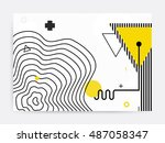 colorful trend neo memphis... | Shutterstock .eps vector #487058347