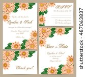 set of wedding cards with... | Shutterstock .eps vector #487063837
