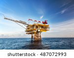 oil and gas platform in the... | Shutterstock . vector #487072993